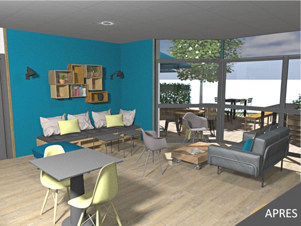 Entreprise Decoration Interieur décoration d'intérieur d'un restaurant d'entreprise - renov'immo